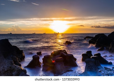 Sunset on the coast of Chaishan, Kaohsiung, Taiwan, after sunset.