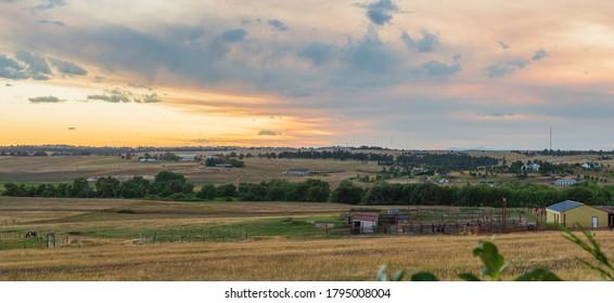 Sunset on the Colorado Eastern Plains near Denver overlooking farms and ranches in Douglas and Elbert Counties - Shutterstock ID 1795008004