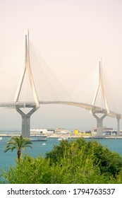 sunset on the Constitution bridge, called La Pepa, in the Bay of Cadiz, Andalusia. Spain. Europe