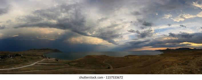 Sunset on the Crimean coast, beautiful panoramic view