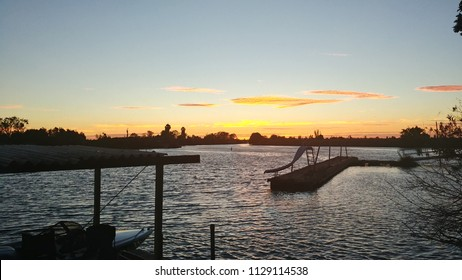 Sunset on the Delta dock in Stockton California.
