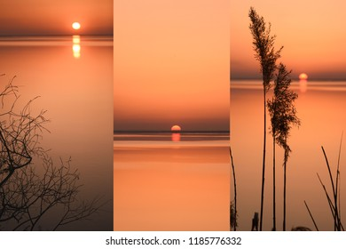 sunset on the Dnieper River, silhouettes of coastal plants and water surface, photocollage.