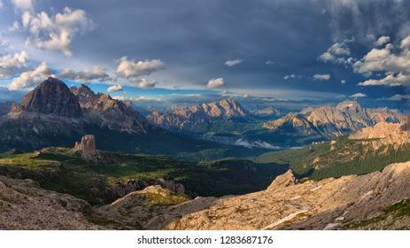 Sunset on the Dolomites, from Rifugio Averau, looking the best peaks of Dolomites mountains, the peaks of Tofane, Cristallo and Cinque Torri, Italy