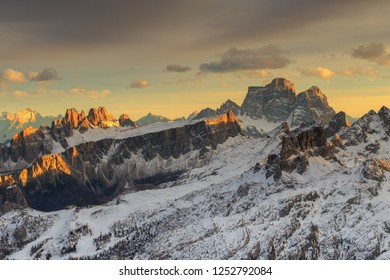 Sunset on the Dolomites, from Rifugio lagazuoi, looking the best peaks of Dolomites mountains, the peaks of Pelmo, Averau and Lastoi de Formin, Italy