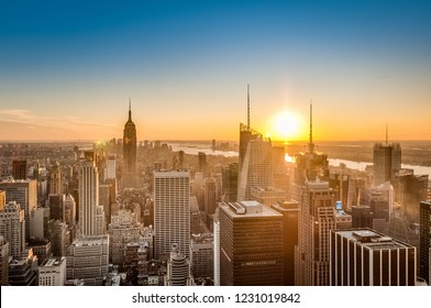 Sunset on downtown Manhattan neighborhood in New York City, United States of America.