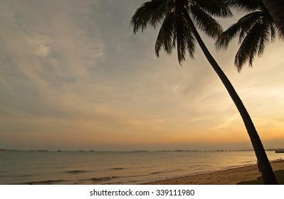 Sunset on East Coast Park, Beach in Singapore.Horizontal view.