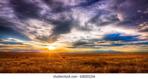 Sunset on the eastern plains of Colorado looking west towards the Rocky Mountains.