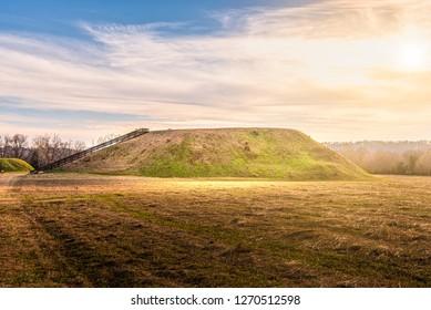 Sunset on Etowah Indian Mounds Historic Site in Cartersville Georgia