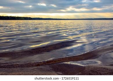 Sunset on the famous lake Krasavitsa in Zelenogorsk