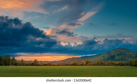 Sunset on a farmer's meadow at Lake Placid, the Adirondacks, New York