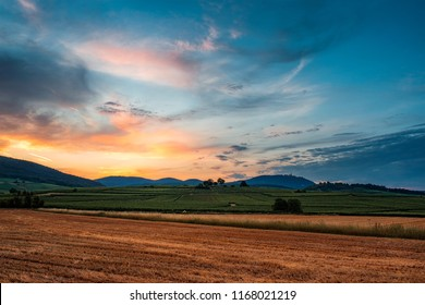 sunset on the field in alsace