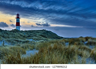 Sunset on German Island with Lighthouse Sylt Germany