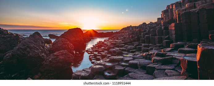 Sunset on the Giants Causeway, Northern Ireland