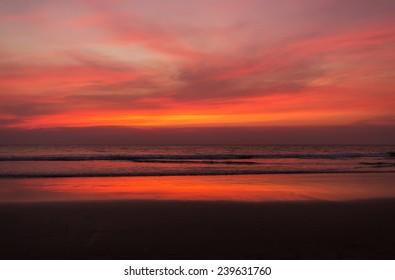 sunset on Goa sand beach