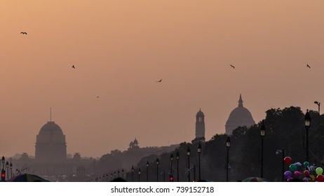 Sunset on the government buildings, New Delhi, India