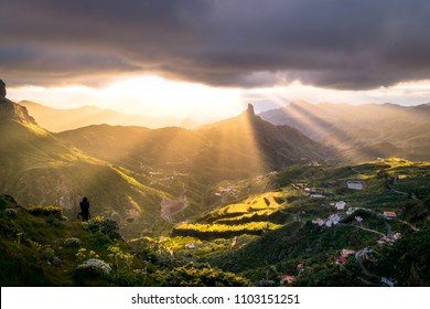 Sunset on Gran Canaria in the Roque Bentaiga