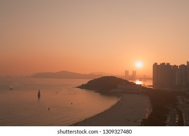 Sunset on Haeundae Beach in Busan, South Korea