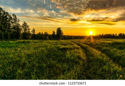Sunset on the horizon over the meadow on rural farm landscape