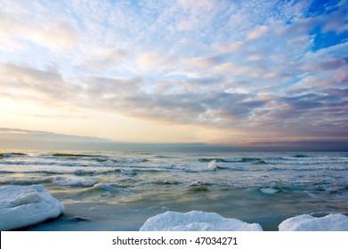 sunset on icy sea