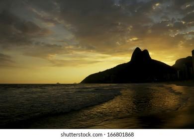 Sunset on Ipanema Beach, Rio de Janeiro, Brazil+