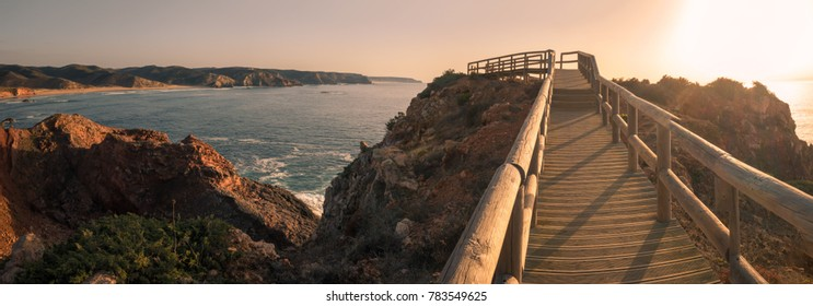 Sunset on Islamic Fishermen Settlement in Ponta do Castelo by Carrapateira at Aljezur - Portugal. Summer Atlantic rocky coast view (Costa Vicentina Algarve).