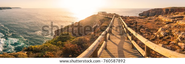 Sunset on Islamic Fishermen Settlement in Ponta do Castelo by Carrapateira at Aljezur - Portugal. Summer Atlantic rocky coast view (Costa Vicentina Algarve).