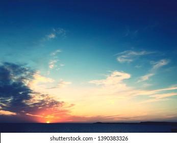 Sunset on island on Menorca in Spain