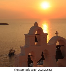 Sunset on the island of Santorini.