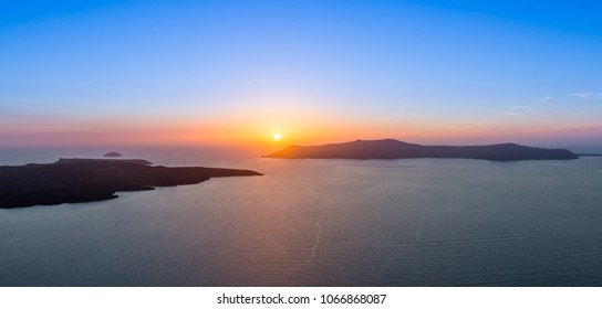 sunset on the island of Santorini in the Cyclades in Greece