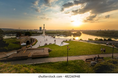 Sunset on Kalemegdan fortress in Belgrade