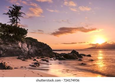Sunset on Kapalua Beach, Maui, Hawaii