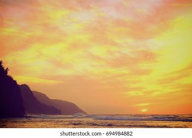 Sunset on Kauai Coast
