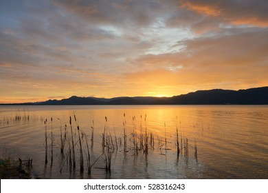 Sunset on the lake with beautiful sky