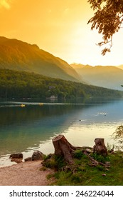 Sunset on the lake Bohinj in Triglav national park, located in the Bohinj Valley of the Julian Alps.