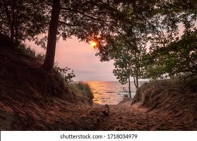 Sunset on Lake Michigan at Saugatuck Michigan