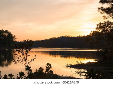Sunset on the lake at Oak Park state park near Birmingham Alabama