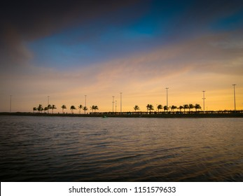 Sunset on the lake of Orla de Aracaju, capital of Sergipe, near the Tamar project