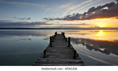 Sunset on Lake Peten Itza in Guatemala