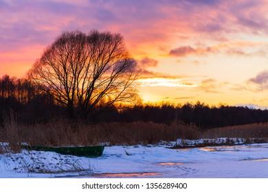 Sunset on the lake Plescheevo, Pereslavl-Zalessky, Yaroslavl region, Russia. March 2019