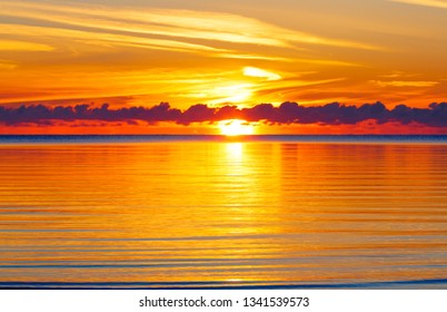 sunset on the lake, saturated colors