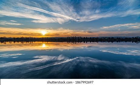 Sunset on the lake shore, amazing sky