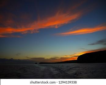 Sunset on Lanai coast (sweetheart rock), Lanai, Hawaii