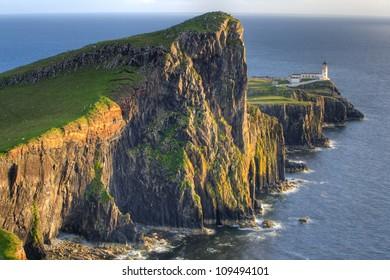 Sunset on Lighthouse at Neist Point, Isle of Skye, Scotland