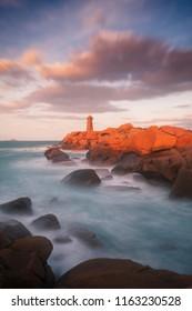 sunset on lighthouse of ploumanac'h