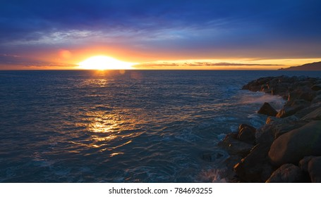 Sunset on Ligurian sea - Tigullio gulf - Italy