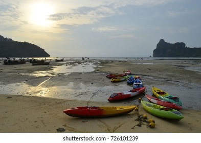 Sunset on Loh Dalum beach at low tide at Phi Phi Don island, province of Krabi, Thailand