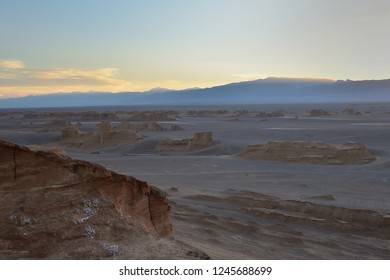 Sunset on the Lut Desert - Dasht-e-Lut the hottest and driest places on the planet, locate near Kerman,  Iran.