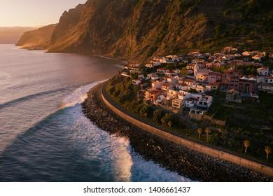 Sunset on Madeira island. Jardim do Mar - small village on sea shore. Sunset sunrise on island in Atlantic ocean. Madeira island in Atlantic ocean. Small touristic village in Madeira.