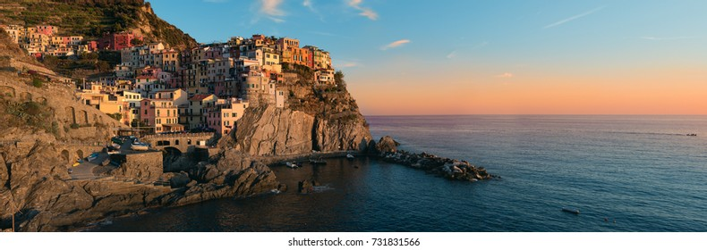 Sunset on Manarola - cinque terre, Italy. High definition panorama HDR