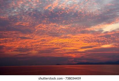 Sunset on the Mediterranean Sea off cruise ship